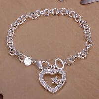 Damenarmband Herz Anhänger Armband 20cm NEU pl. mit Sterlingsilber DA028 T::A