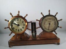 Waterbury Vintage Ships Clock, Thermometer & Barometer Set Ship Wheel Trim-1932
