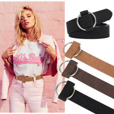 Women PU Leather Belt No Holes Metal Round Buckle Casual Belt for Pants Jeans
