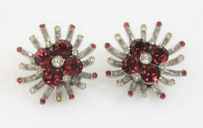 Retro Pair of Red & Colorless Rhinestone Mounted Sterling Silver Earring Clips