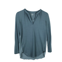 Ann Taylor LOFT V-Neck Tunic Knit Top Size XS Long Sleeve Green Shirttail Shirt