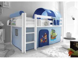 Spielbett Hochbett Kinderbett Kinder Bett Weiß 90x200 cm + Vorhang Pirat Blau