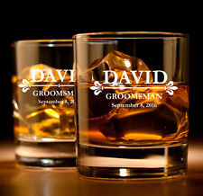 Set of 2 Custom Engraved Personalized Rocks Whiskey Glass Glasses Fleur-de-lis