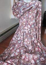 Vintage Laura Ashley Cotton /Wool  Cabbage Rose Prairie Dress Sz 12~Drop Waist