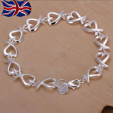 925 Sterling Silver plated Heart Bracelet Chain Link Ladies Girls Gift Love UK