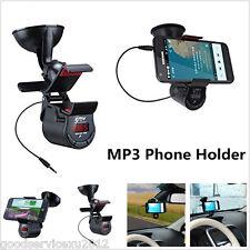Multifunctional Rotation Car Phone Holder Cradle & Digital Display FM Transmiter