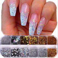 12 Grids/Set Nail Glitter Sequin Mixed Shaped Mirror Round Flake Powder Nail Art