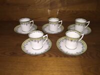 Duchess China, E & BL ~ England ~ Demitasse Cups & Saucers (5 Sets) ~ Excellent