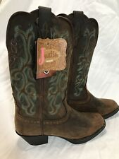 NEW Justin Womens Stampede Sorrel Apache Western Boots Square Toe L2552 Size 6 B