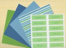 BEAUTIFUL PASTEL 6 X 6 PAPERS 8 SHEETS PLUS 12 LABELS ~ GREEN