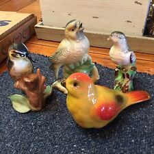 4 Hand Painted Birds Porcelain And Ceramic One Marked Japan