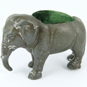 ANTIQUE ELEPHANT FIGURAL CAST METAL SEWING PIN CUSHION