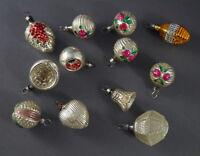 12 Stück alte Kugeln, Schachtel kleine Kugeln, ~ 1930  (# 9958)