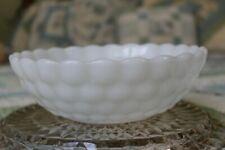 "Vintage ANCHOR HOCKING White Milk Glass Bubble Vegetable Serving Bowl 8"""