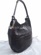 New OROTON Hobo Kiera B Croc Texture Handbag Leather Shoulder Bag Black RRP$495