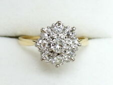 18CT YELLOW GOLD ROUND 1ct DIAMOND CLUSTER RING SIZE N, ENGAGEMENT ANNIVERSARY