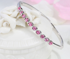 Children Round Pink Sapphire Crystal White Gold Plated Bangle Bracelet Xmas Gift