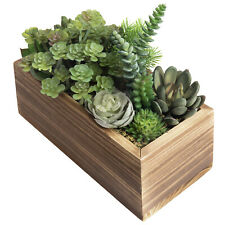 MyGift Artificial Succulent Plant Arrangement in Rustic Brown Pine Wood Planter