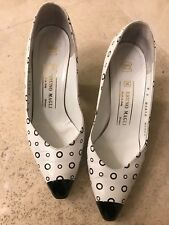 7 B vintage 80's black & white polkadot leather Bruno Magli heels pumps shoes