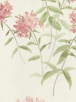 Wallpaper Designer Cottage Garden Floral Phlox Flowers, Pink, Green on Off White