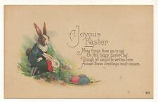 Dressed Bunny Rabbit Mother and Son by the Creek EASTER Vintage Postcard