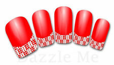 3D Nail Art Decals Transfer Stickers French Tip Design Rhinestones Lace (3D870)
