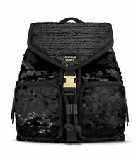 Large Victoria's Secret Black Quilted Backpack Faux Leather Chic Bag
