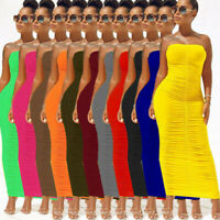 Women Sexy Ruched Tight Strapless Bodycon Dress Sleeveless Tube Long Club Dress