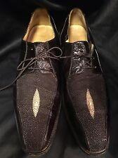 BELVEDERE Men's Dark Brown Genuine Stingray and Eel Skin Shoes Size 10/5 $349