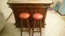 Mobile bar per taverna in legno massiccio, con 2 sgabelli