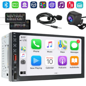 """7"""" Double 2 DIN Car Stereo MP5 Player HD Touch Screen Android AUTO/Apple CarPlay"""