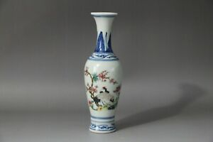Chinese antique Qing Dynasty Style Hand Painted Porcelain Vase crane plum Bossom