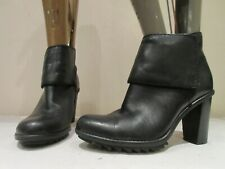 CLARKS SOMERSET BLACK LEATHER STACKED HEEL PULL ON ANKLE BOOTS UK 6.5 D (3398)