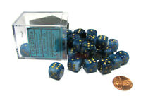 Phantom 12mm D6 Chessex Dice Block (36 Dice) - Teal with Gold Pips