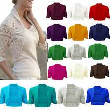 Women's Ladies Cable Knitted Shrug Bolero Sweater Top Shrug UK Plus Sizes