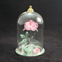 Disney Beauty and the Beast Enchanted Pink Rose Sculpture by Glass Baron