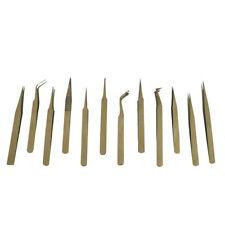 12 Pc Anti-magnetic Precision Tweezer Set Beading Jewelry Non Magnetic Tweezers