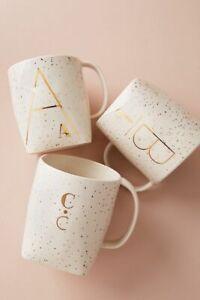 Anthropologie Gilded Gold Spots S Letter Monogram Stoneware Personality Mug NEW