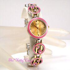 Omax Damas Retro Rosa Esmalte Oro pltd Suizo Marca Seiko Reloj cristalino jhs434