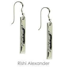 925 Sterling Silver Vertical Bar Personalized Name Earrings
