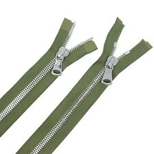 Glossy 8MM Teeth Olive/Nickel Two-Way Separating Open Bottom Jacket Zipper