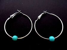 """A PAIR OF SILVER COLOUR 35 MM 1.5"""" HOOP & TURQUOISE BEAD EARRINGS. NEW."""