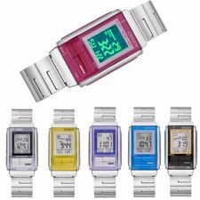 Men Women Waterproof Quartz Stainless Steel LED Sport Square Digital Wrist Watch