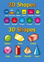 2D 3D SHAPES CHILDREN KIDS EDUCATIONAL POSTER CHART A4 SIZE SCHOOL HOME LEARN