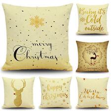 New Golden Merry Christmas Linen Cotton Cushion Cover Pillow Case Sofa Home Deco