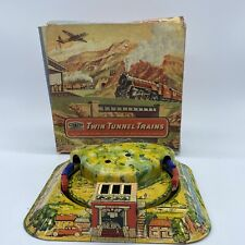 Vintage METTOY Twin Tunnel Trains Tinplate Clockwork Toy No 6166 See Description