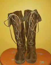 Vintage Taos Suede Fringe Boots Women Size 10