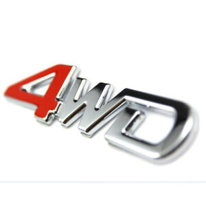 Car Tailgate 4WD Chrome Metal Emblem Sticker Badge 4 Wheel Drive.Car Accessories