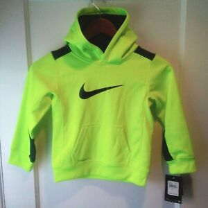 NWT -  Boys Nike Therma-FIT Big Logo Swoosh Fleece Yellow Volt Hoodie - Size 4