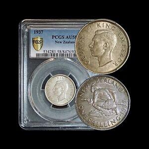 1937 New Zealand Shilling (Silver) - PCGS AU58 (Choice) - Semi-Key